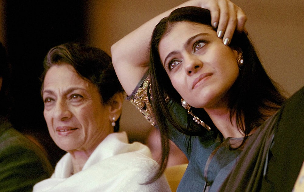 Actress Kajol with her mother actress Tanuja at a seminar on breast cancer in Pune.