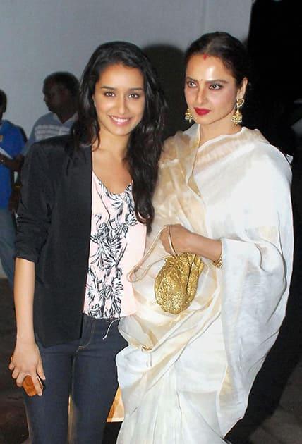Rekha and Shraddha Kapoor at the birthday party of Priyanka Chopra in Mumbai.