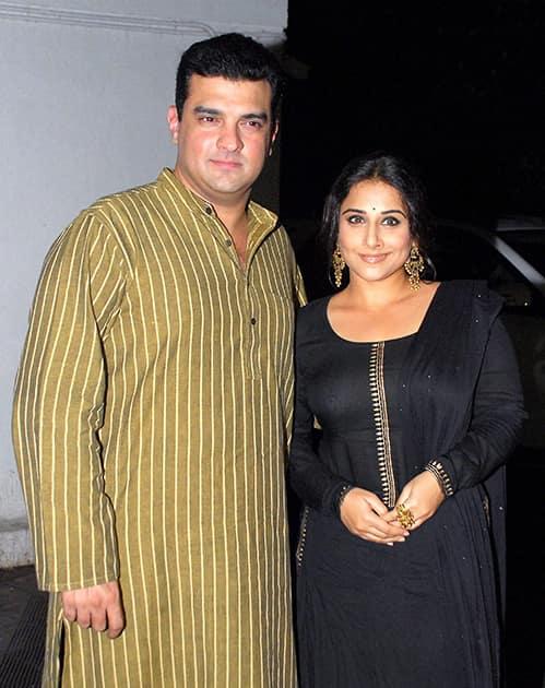 Vidya Balan and her husband and filmmaker Siddharth Roy Kapur at the birthday party of Priyanka Chopra in Mumbai.