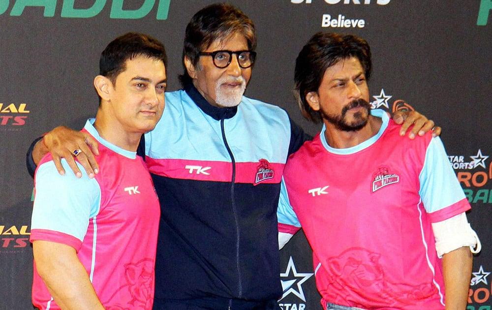 Amitabh Bachchan with Aamir Khan and Shahrukh Khan during the pro kabaddi match played between U Mumba and Pink Panthares in Mumbai.