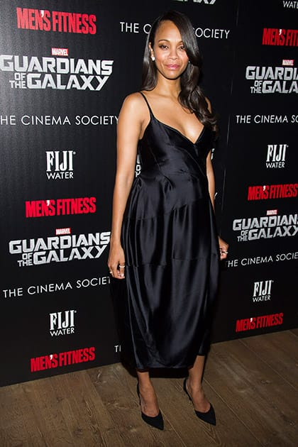 Zoe Saldana attends a screening of 'Guardians of the Galaxy' hosted by The Cinema Society and Men's Fitness.