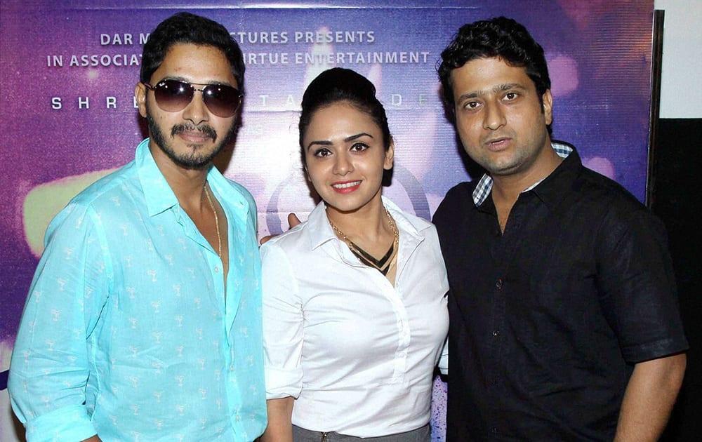 Bollywood actors Shreyas Talpade, Amruta Khanvilkar and Jitendra Joshi during the trailer launch of Marathi film Baji in Mumbai.
