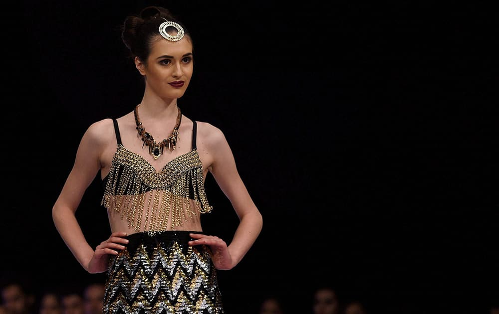 A Model on the ramp to showcase the creation of designer Shivali Singh during the fist day of Bangalore Fashion Week in Bengaluru.