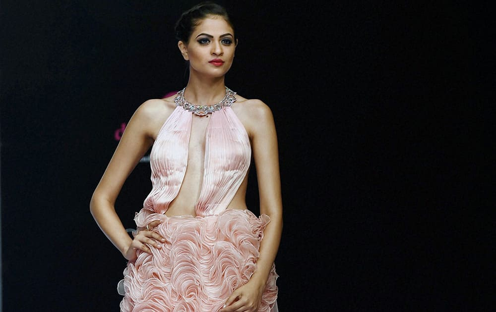 A model on the ramp to showcase the creation of designer Lalit Dalmia during the first day of Bangalore Fashion Week in Bengaluru.