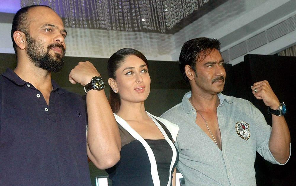 Bollywood Actors Ajay Devgan, Kareena Kapoor and Director Rohit Shetty at a promotional event in Mumbai.