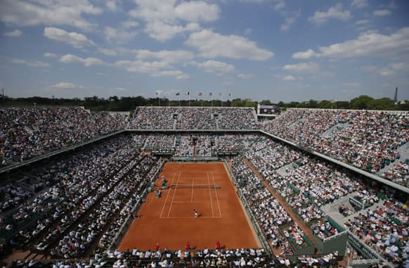 View of center court where Spain's Rafael Nadal plays against Switzerland's Stanislas Wawrinka in their quarterfinal match at the French Open tennis tournament, at Roland Garros stadium in Paris.