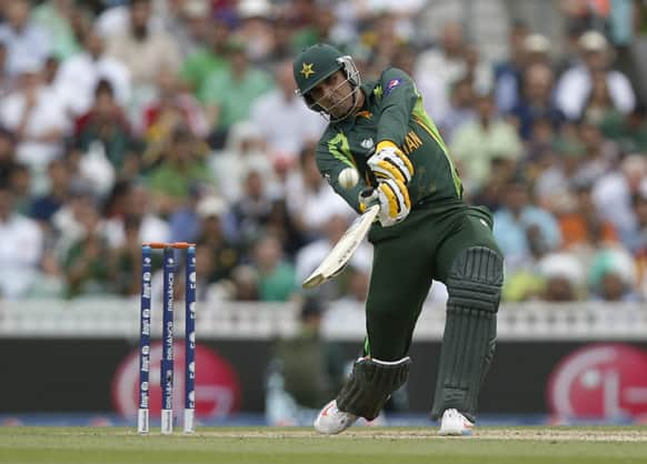 Pakistan's Misbah-ul Haq hits a six runs off the bowling of West Indies' Kieron Pollard during their ICC Champions Trophy group B cricket match at the Oval cricket ground in London.