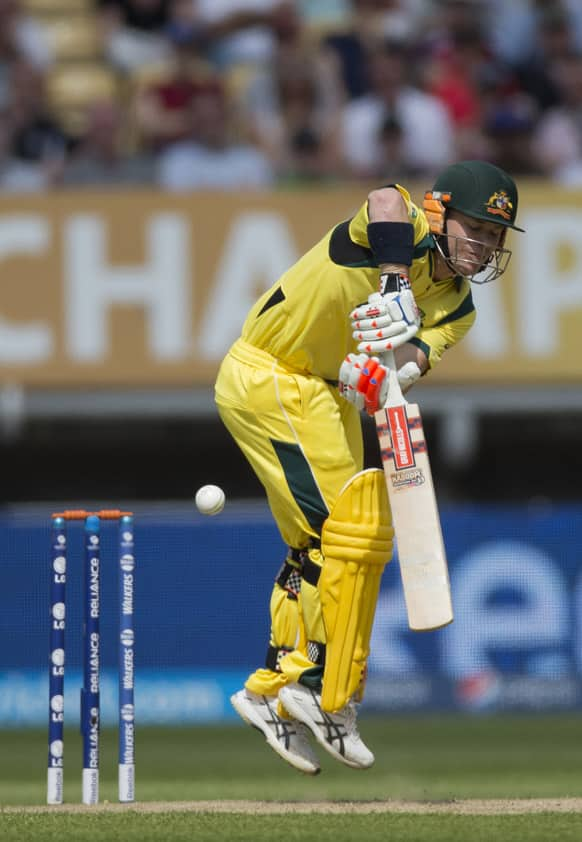 Australia's David Warner hits a shot during the ICC Champions Trophy group A cricket match between England and Australia at Edgbaston cricket ground in Birmingham.