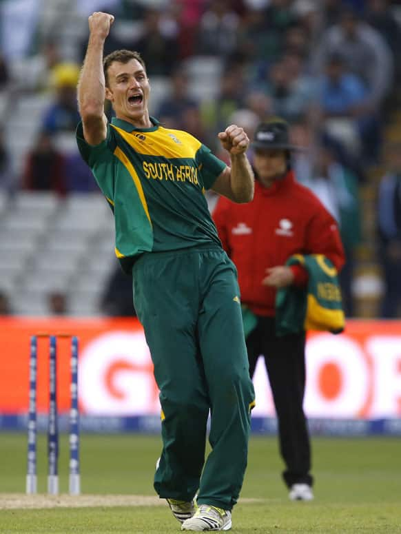 South Africa's Ryan McLaren celebrates the wicket of Pakistan's Junaid Khan, as South Africa won by 67 runs during an ICC Champions Trophy cricket match between Pakistan and South Africa at Edgbaston in Birmingham.