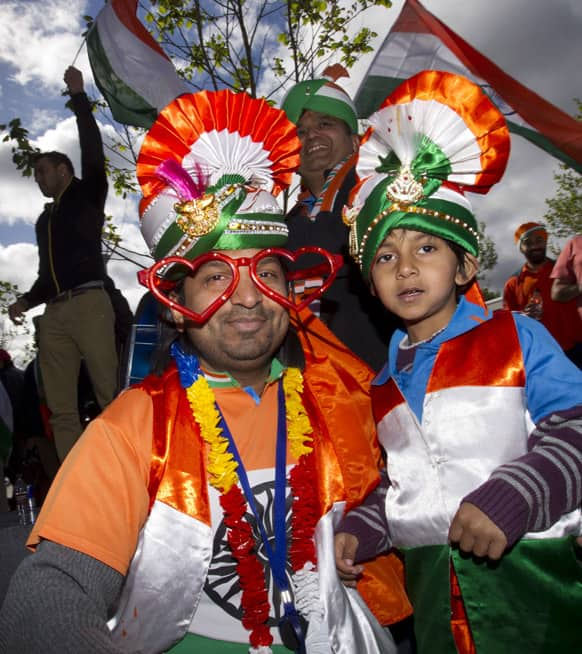 Cricket fans are seen outside the ground before India's ICC Champions Trophy cricket match against Pakistan at Edgbaston cricket ground, Birmingham.