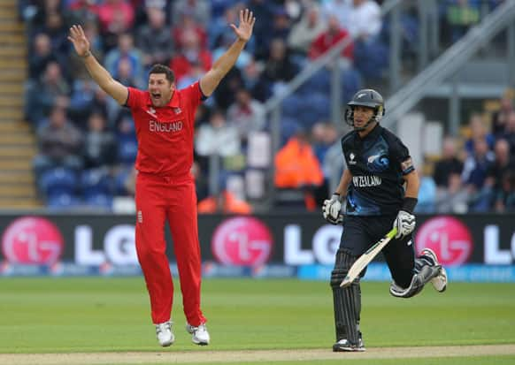 England's Tim Bresnan, left, celebrates trapping New Zealand batsman Ross Taylor LBW during the ICC Champions Trophy match at the SWALEC Stadium, Cardiff, Wales.