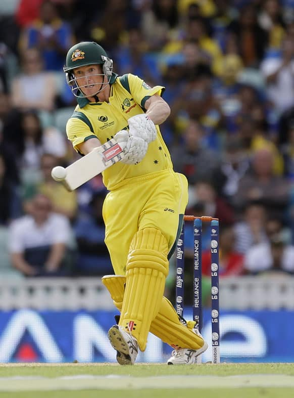 Australia's George Bailey hit a ball from Sri Lanka's Lasith Malinga during their ICC Champions Trophy cricket match at the Oval cricket ground in London.