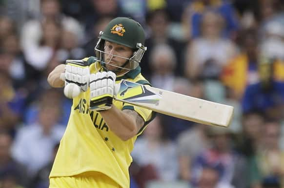 Australia's Matthew Wade hits four runs from the bowling of Sri Lanka's Lasith Malinga during their ICC Champions Trophy cricket match at the Oval cricket ground in London.