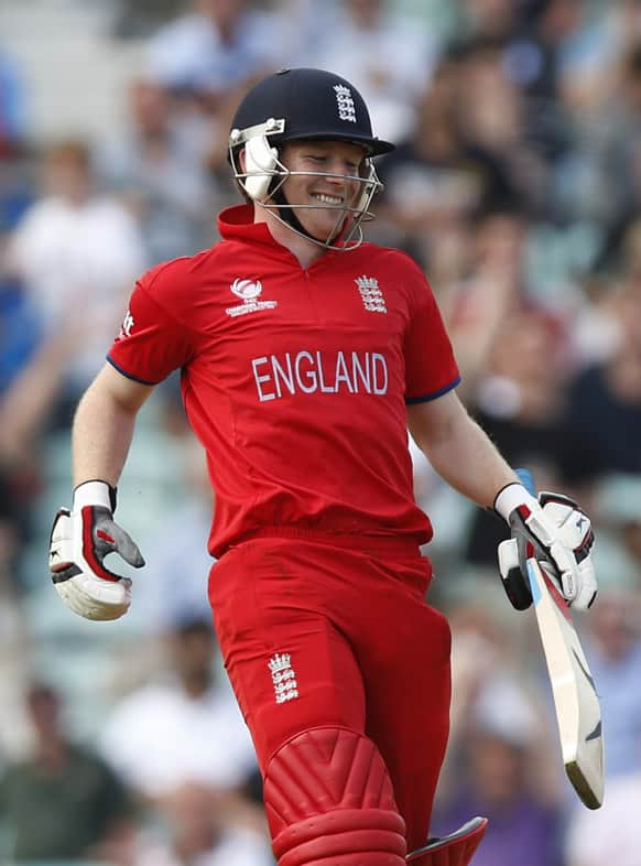 England's Eoin Morgan reacts to their win against South Africa at the end of their ICC Champions Trophy semifinal cricket match at the Oval cricket ground in London.