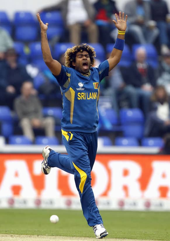 Sri Lanka's Lasith Malinga appeals during an ICC Champions Trophy semifinal between India and Sri Lanka at the Cardiff Wales Stadium in Cardiff.