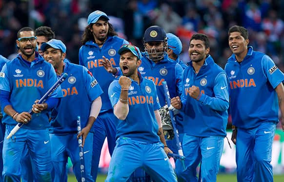 India celebrate beating England in their ICC Champions Trophy Final cricket match at Edgbaston cricket ground, Birmingham, England.
