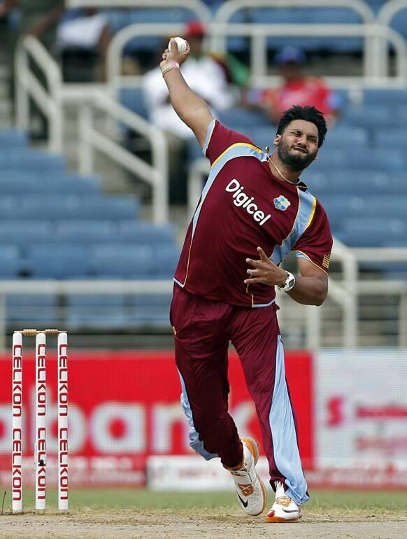West Indies' Ravi Rampaul bowls during the Tri-Nation Series cricket match against Sri Lanka in Kingston, Jamaica.