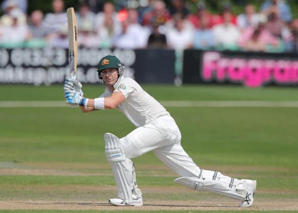 Australia captain Michael Clarke bats during day three of their warm up match against Worcestershire at New Road Worcester England.