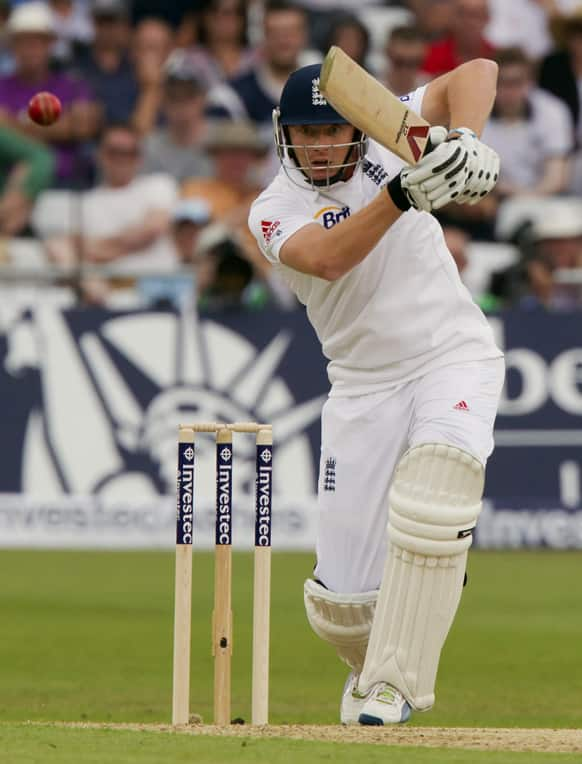 England's Jonny Bairstow plays a shot off the bowling of Australia's James Pattinson on the first day of the opening Ashes series cricket match against, at Trent Bridge cricket ground, Nottingham, England.
