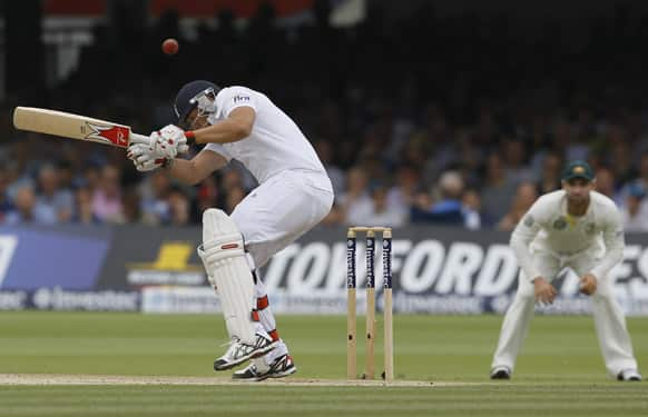 England's Tim Bresnan plays a shot off the bowling of Australia's Peter Siddle during day three of the second Ashes Test match held at Lord's cricket ground in London.