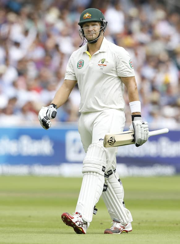 Australia's Shane Watson leaves the pitch after being bowled LBW by England's James Anderson during day four of the second Ashes Test match held at Lord's cricket ground in London.