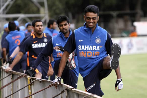 Indian Cricket players, during a practice session in Harare, Zimbabwe.