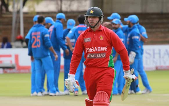 Zimbabwean batsman Brendan Taylor walks off the pitch after been dismissed for a duck during the last day of the one day international cricket game against India at Queens Sports Club in Bulawayo, Zimbabwe.