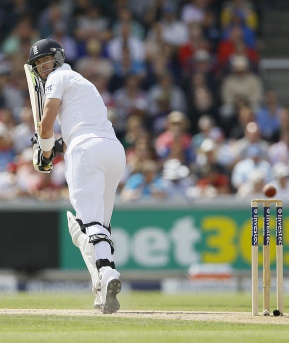 England's Kevin Pietersen plays a shot off the bowling of Australia's Peter Siddle during day three of the third Ashes Test match held at Old Trafford cricket ground in Manchester, England.
