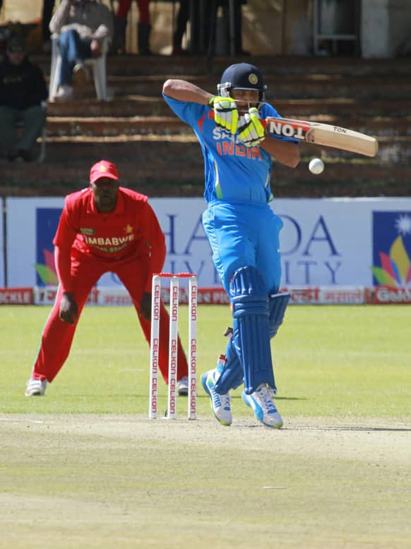 Ravindra Jadeya plays a shot on the last day of the one day international cricket match between India and Zimbabwe at Queens Sports Club in Bulawayo, Zimbabwe.