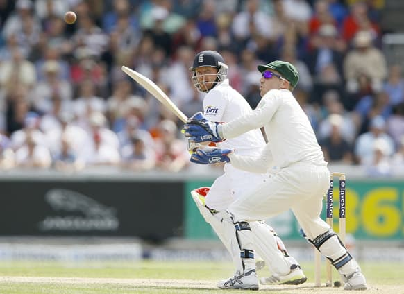 England's Ian Bell plays a shot off the bowling of Australia's Steven Smith during day three of the third Ashes Test match held at Old Trafford cricket ground in Manchester, England.