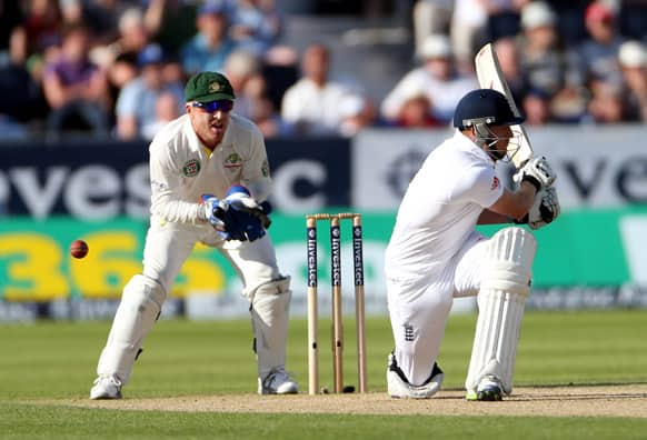 England's Jonathan Bairstow awaits the decision for a lbw by Australia's Nathan Lyon during the first day of the fourth Ashes series cricket match at the Riverside cricket ground, Chester-le-Street, England.
