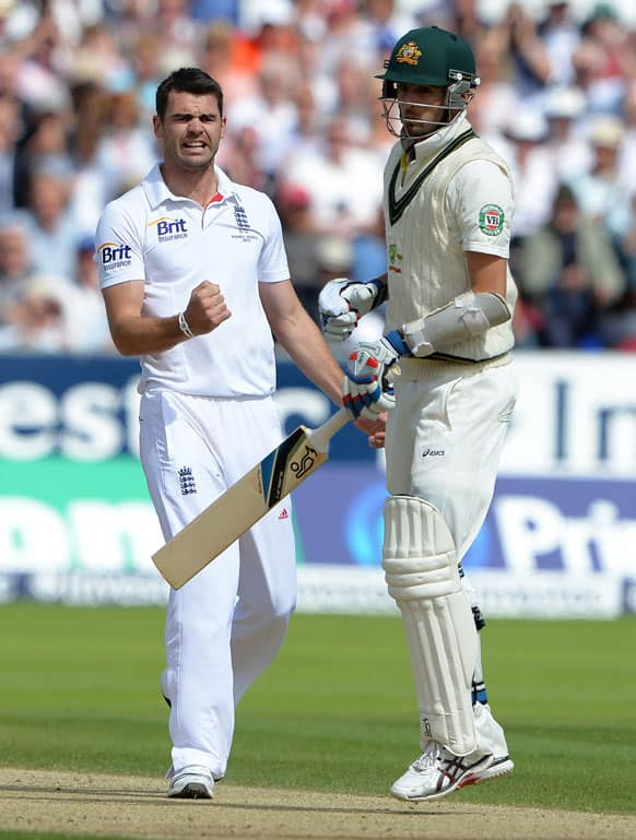 England's James Anderson celebrates after taking the wicket of Australia's Nathan Lyon during the third day of the fourth Ashes series cricket match against England at the Riverside cricket ground, Chester-le-Street, England.