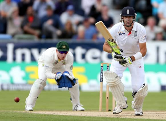 England's Kevin Pietersen plays a shot bowled by Australia's Nathan Lyon during the third day of the fourth Ashes series cricket match at the Riverside cricket ground, Chester-le-Street, England.