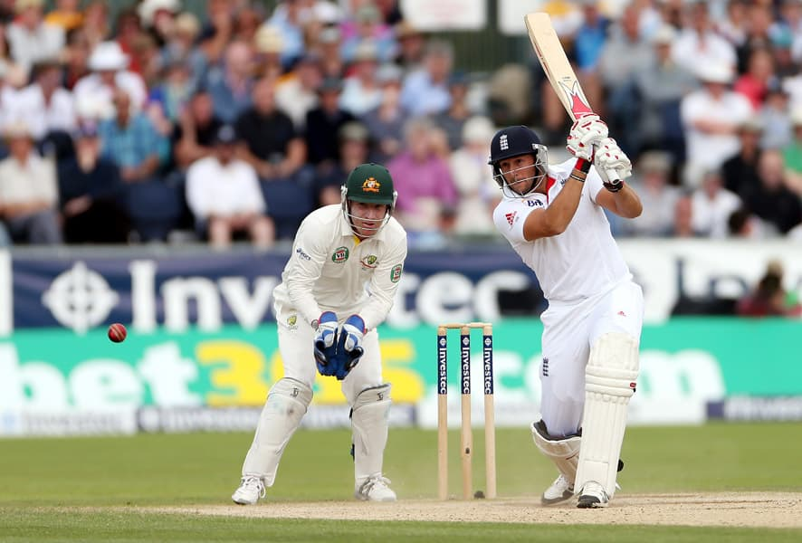 England's Tim Bresnan plays a shot bowled by Australia's Nathan Lyon during the fourth day of the fourth Ashes series cricket match at the Riverside cricket ground, Chester-le-Street, England.