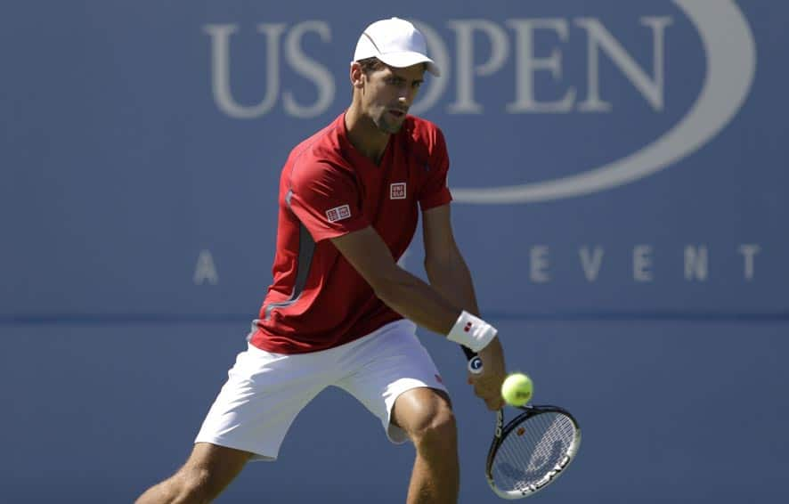 Serbia's Novak Djokovic practices a day before the US Open tennis tournament .