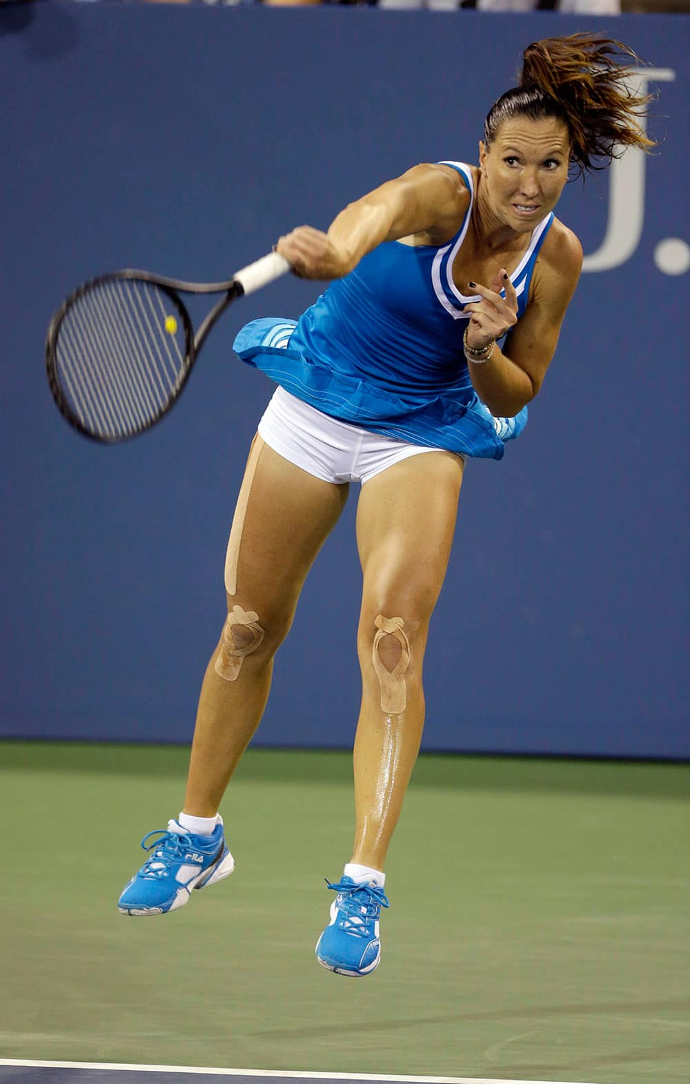 Serbia's Jelena Jankovic serves to Madison Keys during the opening round of the US Open tennis tournament.