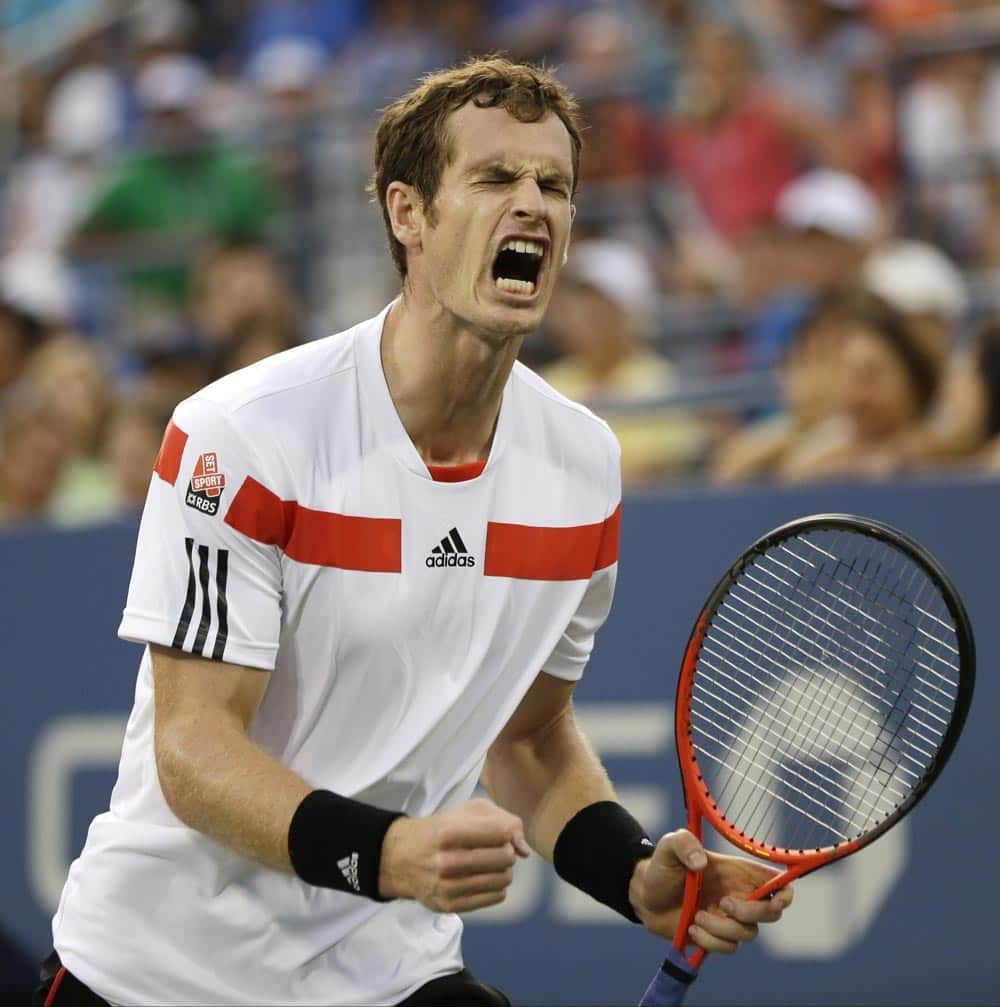 Andy Murray reacts after beating Leonardo Mayer of Argentina in the second round of the 2013 US Open tennis tournament.