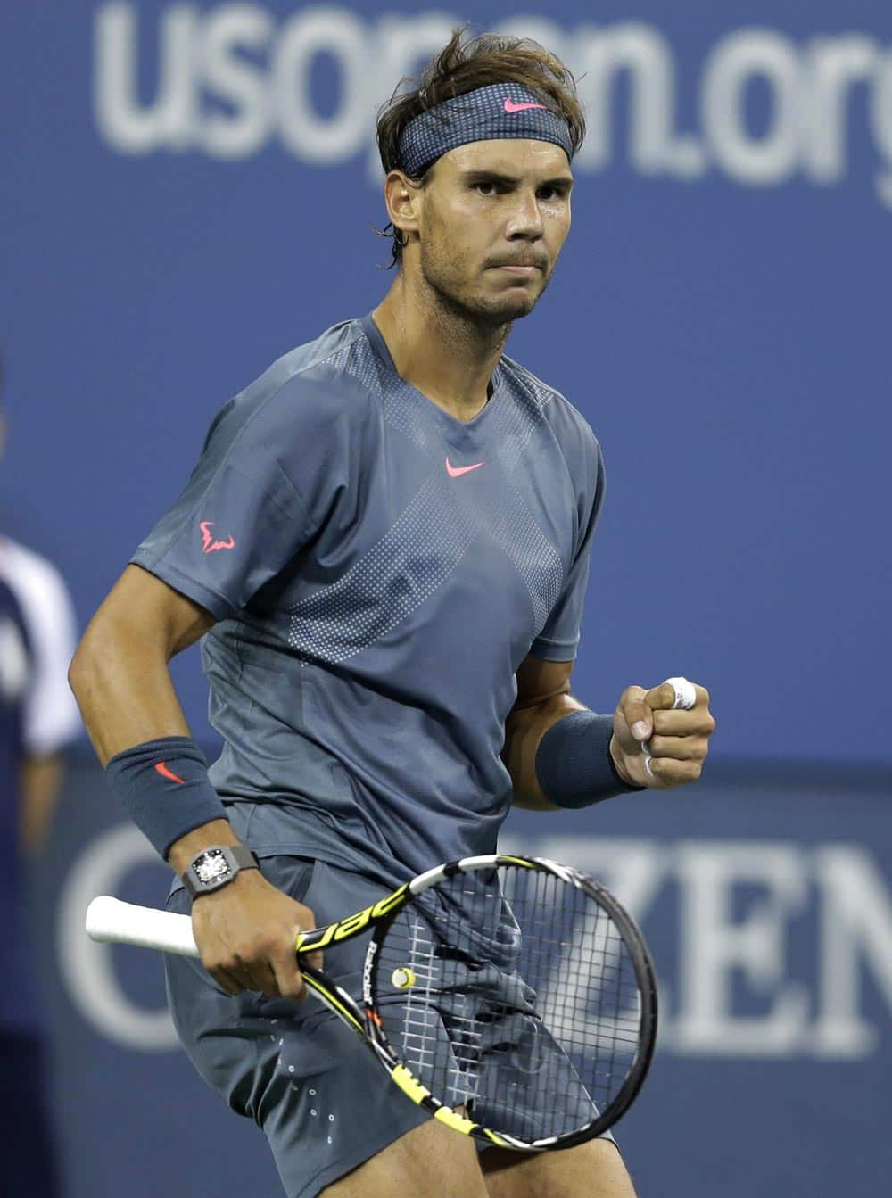 Rafael Nadal, of Spain, reacts after winning a point against Tommy Robredo, of Spain, during a quarterfinal of the US Open tennis tournament.