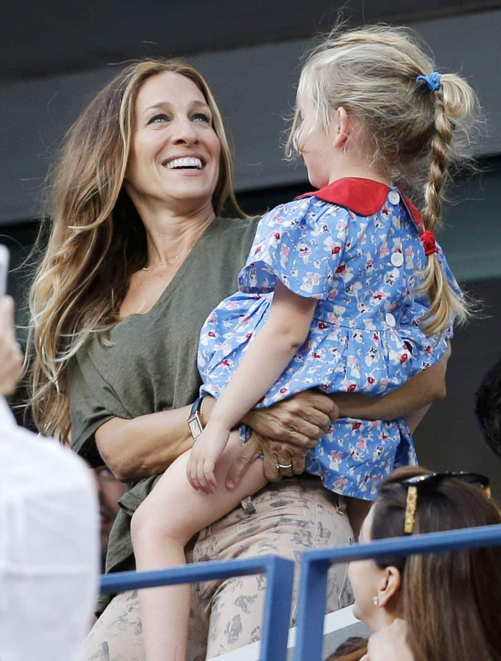 Sarah Jessica Parker is seen during the women's singles final of the 2013 US Open tennis tournament.