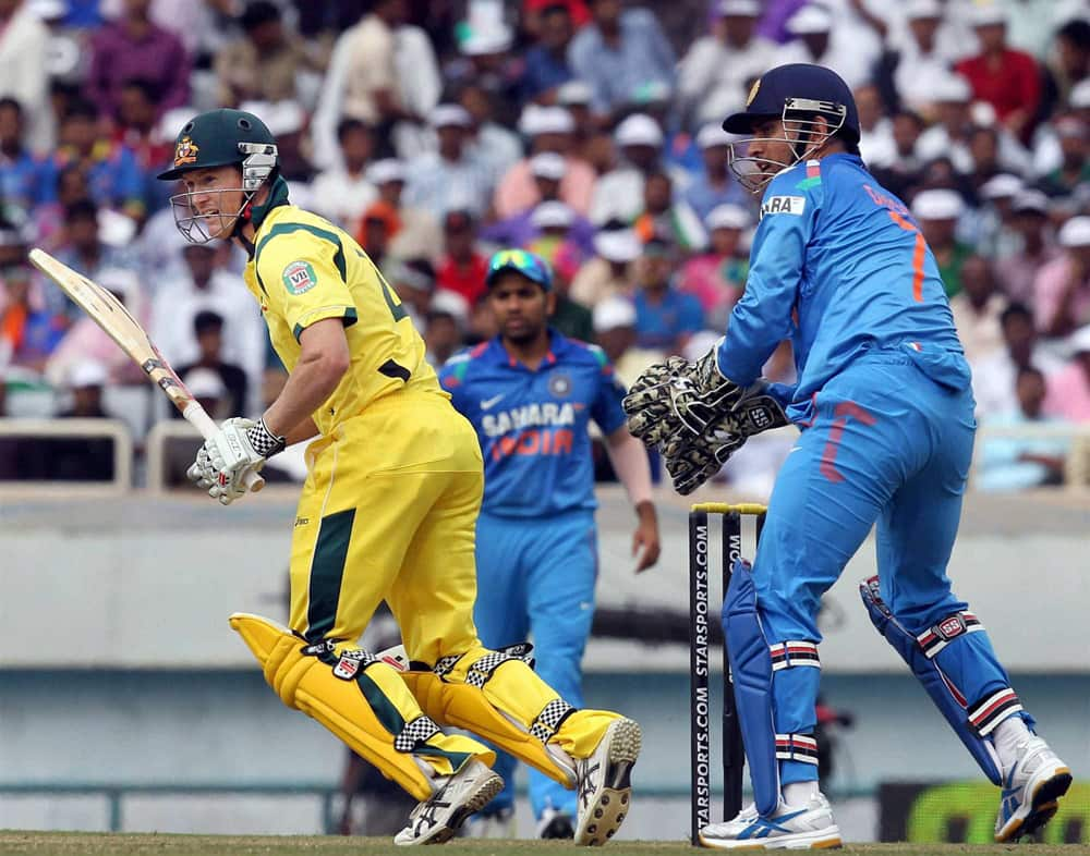 Australian Captain G Bailey in action against India during the 4th ODI cricket match in Ranchi.