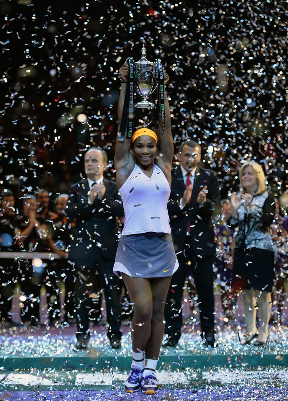 Serena Williams of the USA holds up the trophy after her victory over Li Na of China in the final of the WTA Championship in Istanbul, Turkey.