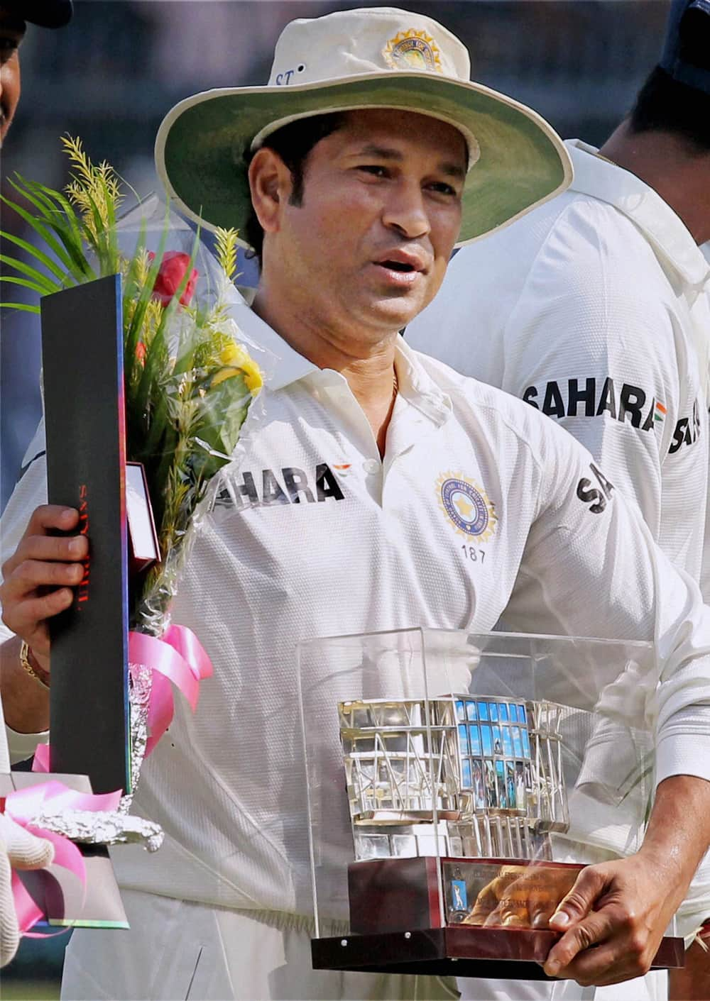 Sachin Tendulkar after being felicitated by Cricket Association of Bengal on his 199th test match againist West Indies at Eden Garden in Kolkata.