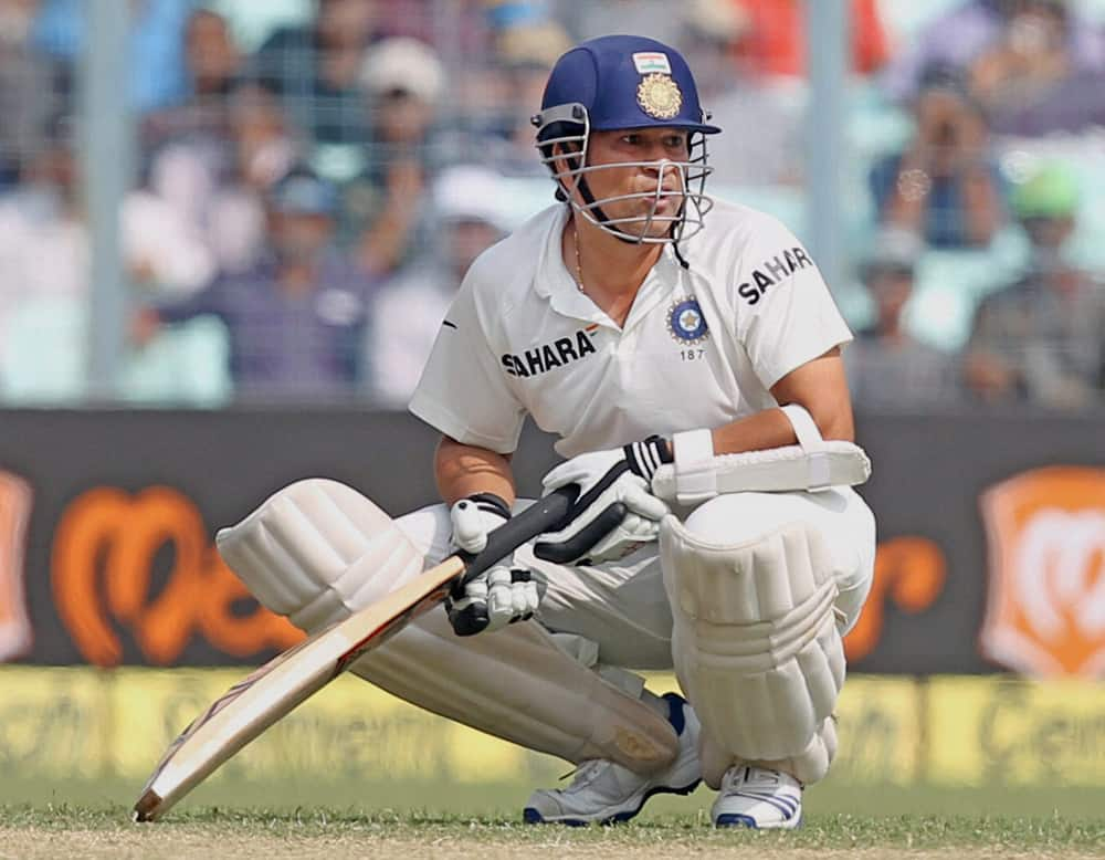 Sachin Tendulkar in action on the second day of the first test match at Eden Garden in Kolkata.