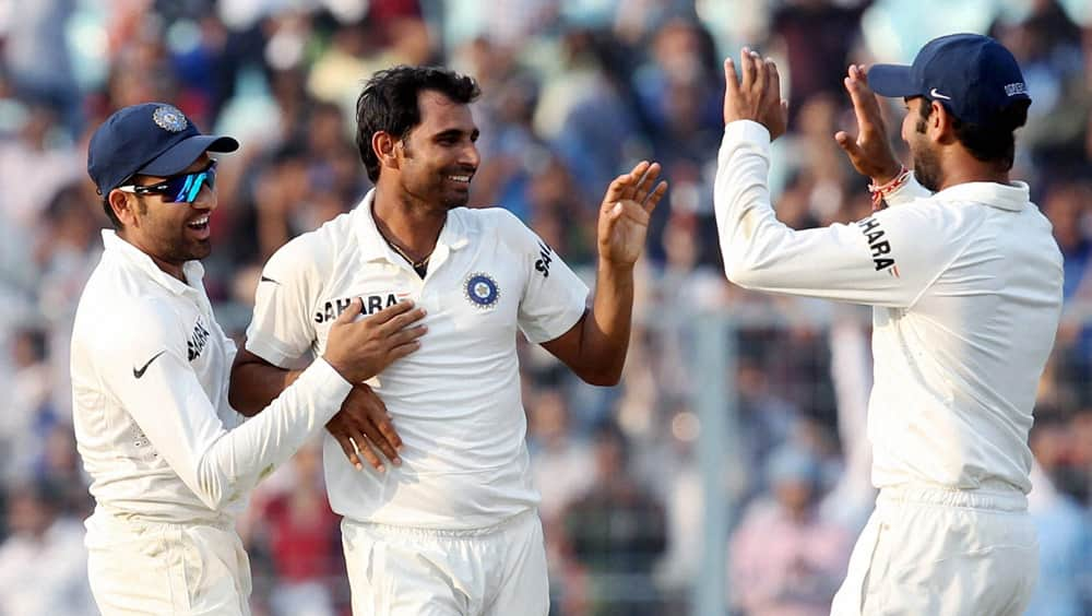 Mohammed Shami celebrates a wicket during the 3rd day of the first test match against West Indies at Eden Garden in Kolkata.