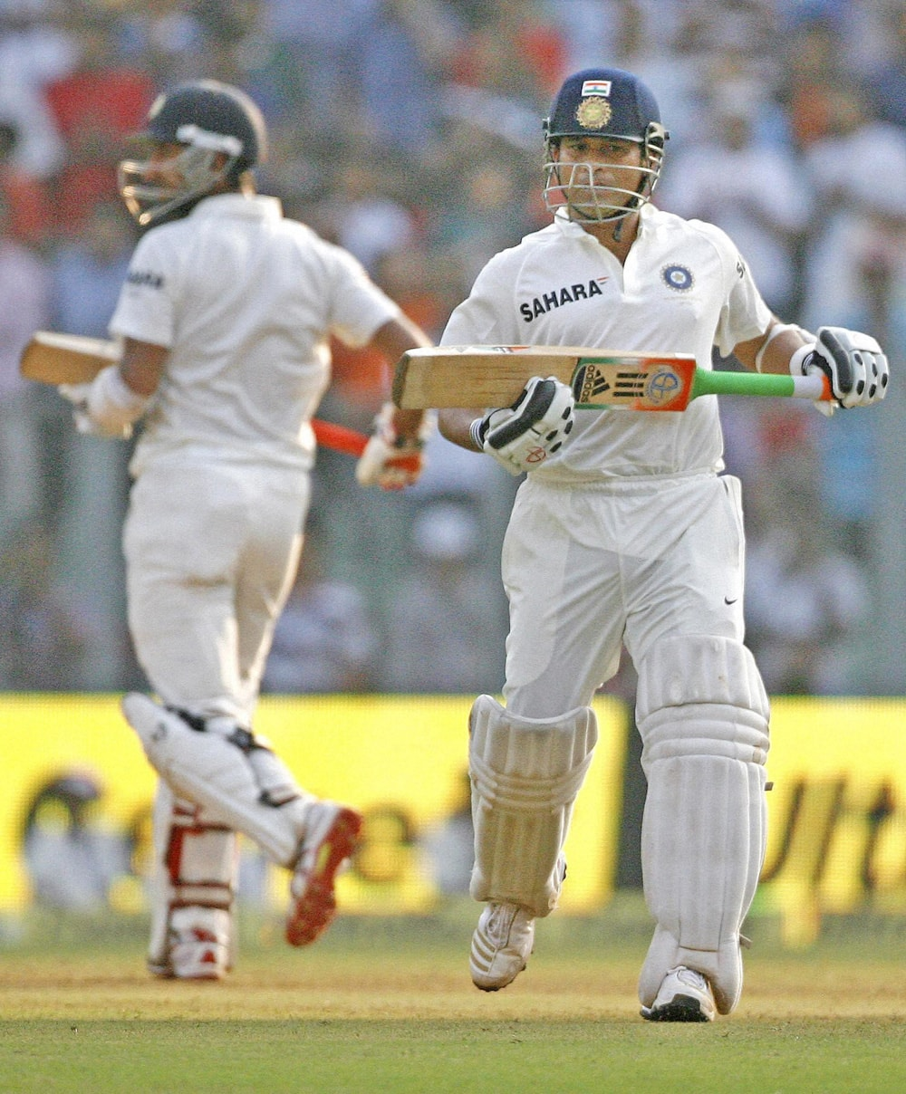 Sachin Tendulkar takes a run on Day 1 of the 2nd test match against West Indies at Wankhede Stadium in Mumbai on Thursday. Sachin is playing his last 200th Test match.