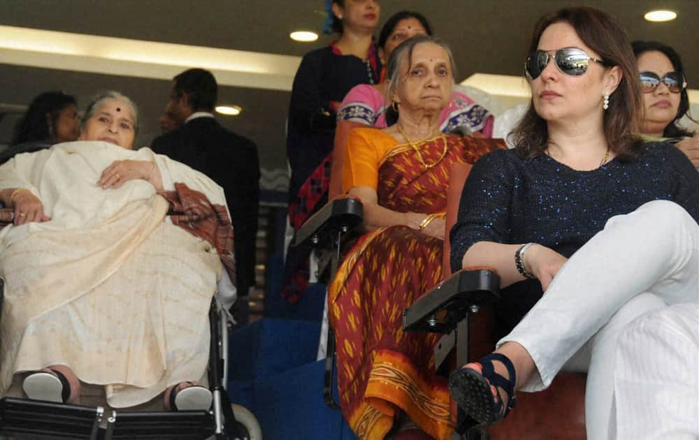 Sachin Tendulkar's mother (L) and wife Anjali during the India vs West Indies 2nd Test Match at Wankhede Stadium Mumbai.