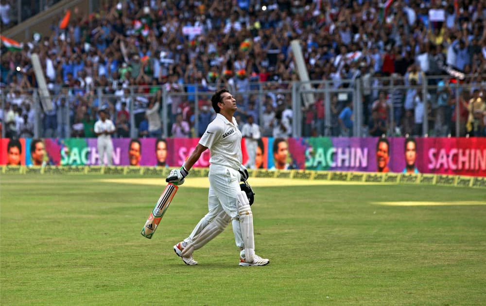 Master blaster Sachin Tendulkar walks off the field after his dismissal on Day 2 of the final Test match against West Indies at Wankhede Stadium in Mumbai.
