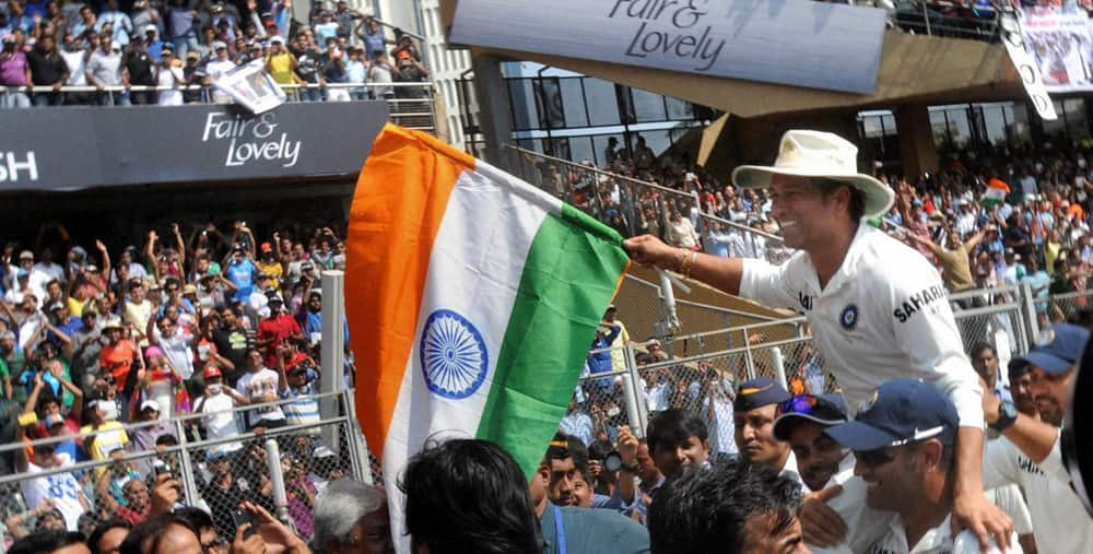 Sachin Tendulkar waves the tri-colour during his farewell ceremony at Wankhede in Mumbai.