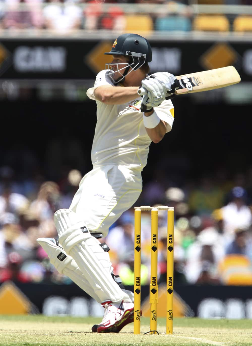 Shane Watson plays a shot on the first day of the series-opening Ashes test between England and Australia at the Gabba in Brisbane, Australia.
