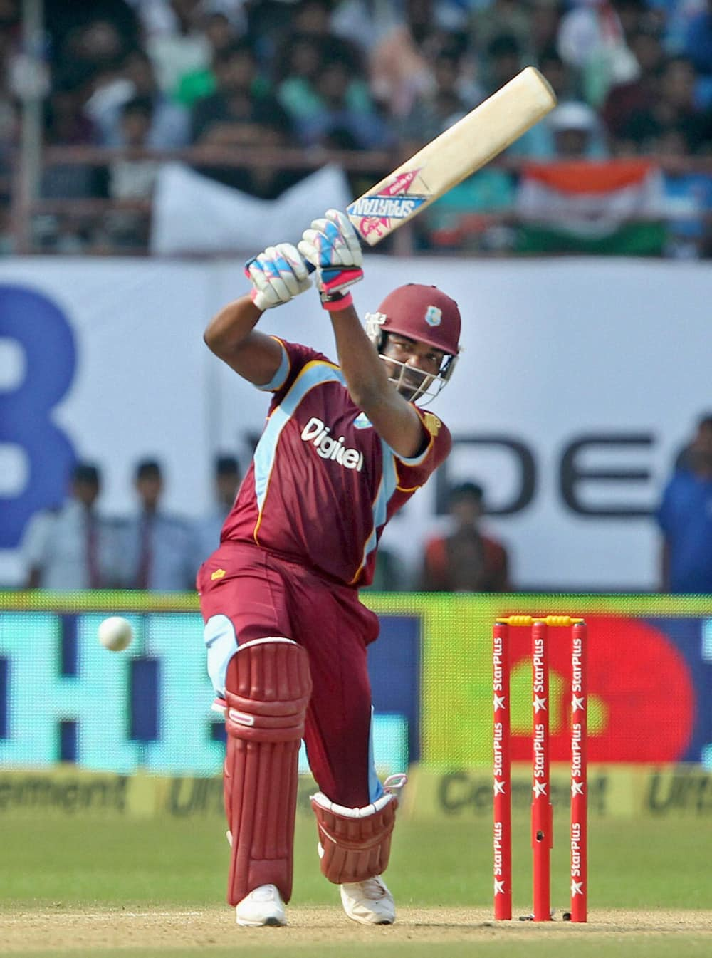 West Indies player Darren Bravo plays a shot during the 1st ODI match against India, in Kochi.